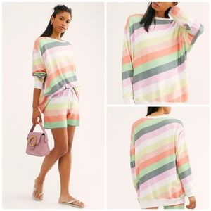 Wildfox Rainbow Roadtrip Sorbet Stripes Pullover